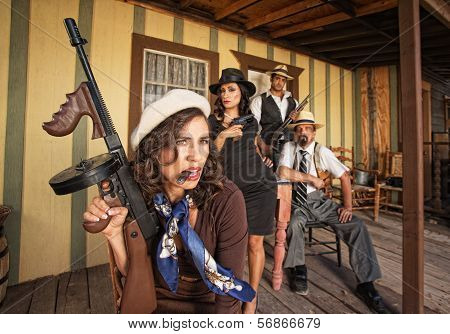Tough Smoking Woman With Submachine Gun