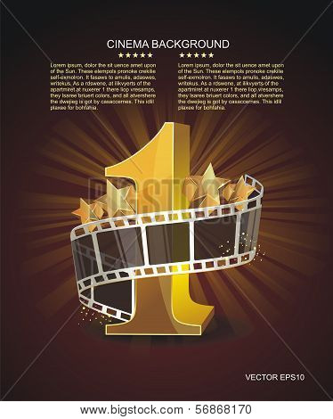Gold Number 1 With Twisted Filmstrip Against Dark Background