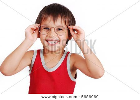 A Little Cute Boy With Glasses