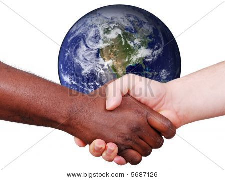 Black And White Hands Shaking In Front Of Earth