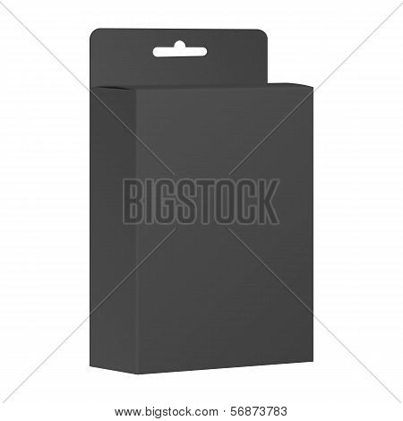 Blank Black Product Package Box. Vector