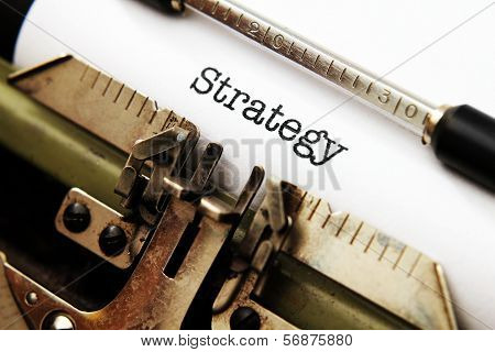 Strategy Text On Typewriter