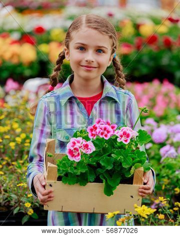Planting, garden flowers - Lovely girl holding flowers in garden center