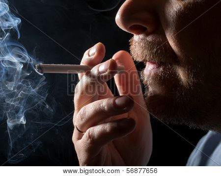 Portrait Man Smoking Cigarette