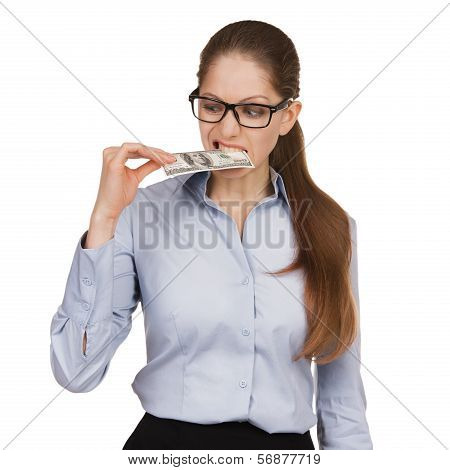 Woman Trying To Eat A Hundred Dollar Bill