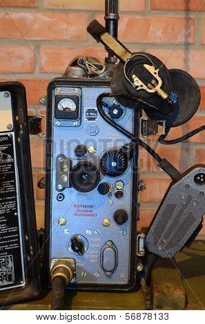 KIEV, UKRAINE -NOV 3: Soviet military communication equipment during historical reenactment of WWII, Dnepr river crossing 1943, November 3, 2013 Kiev, Ukraine