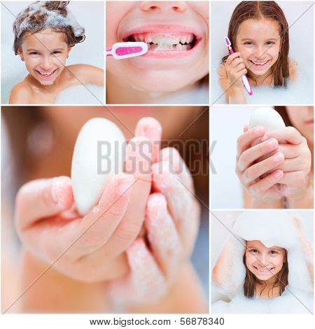 collage of photos in which a girl takes a bath, washes his hands and brushes his teeth