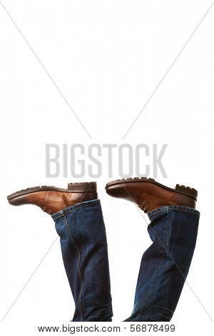 upside-down shoes on white background