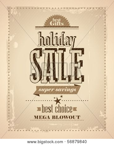 Holiday sale design in newspaper retro style.
