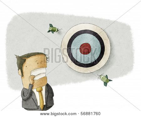businessman misses the target