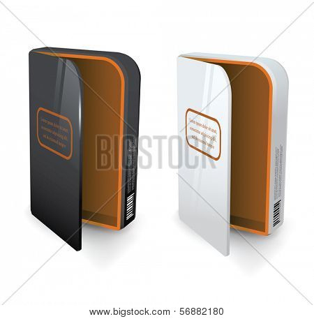 Empty package box mock-up. Vector illustration