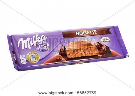 Sarajevo, Bosnia and Herzegovina - January 12, 2014: Studio shot of a Milka Noisette Chocolate. Milka is a traditional brand of chocolate confection, manufactured by Mondel?z International.