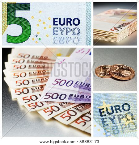 Different euro bank notes and euro cent coins