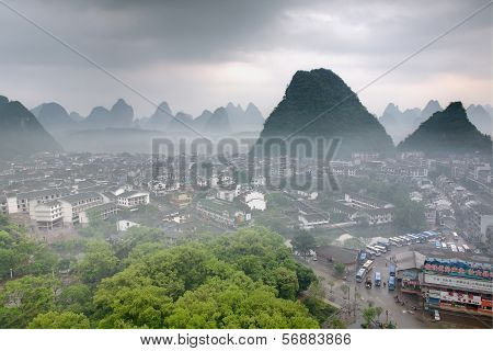 Cityscape In Southeast Asia, Yangshuo Town, Top View, Karst Hills.