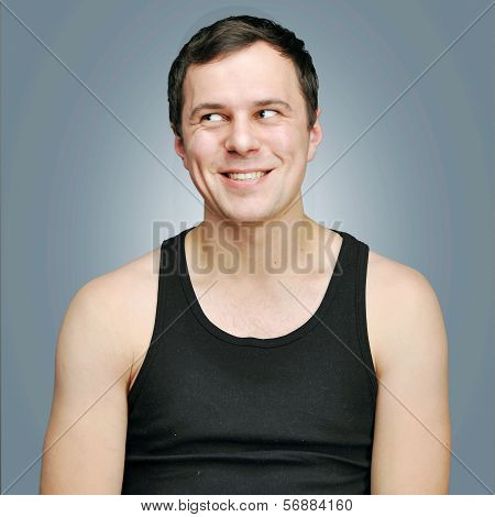 Happy Young Man In A Black T-shirt