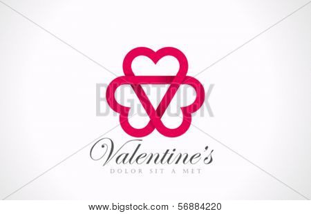 Three Looped Hearts - Love triangle vector logo design template. Valentine Party Free Love icon