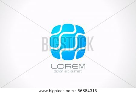 Square Business technology abstract vector logo design template. DNA, Molecular, Electronics icon