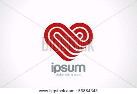 Heart logo vector design template. Creative lines shape. Love symbol icon. Happy Valentine's Day