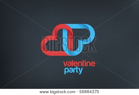 Valentine Party creative logo design template.  2 Hearts mean