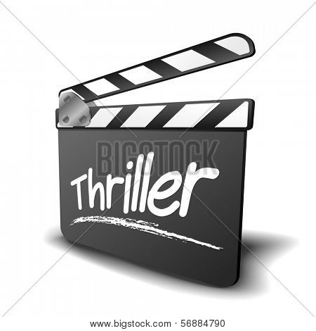 detailed illustration of a clapper board with thriller term, symbol for film and video genre