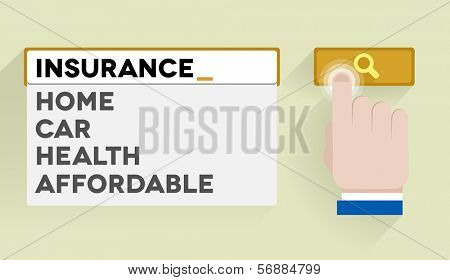 minimalistic illustration of a search bar with insurance keywords and associations, eps10 vector