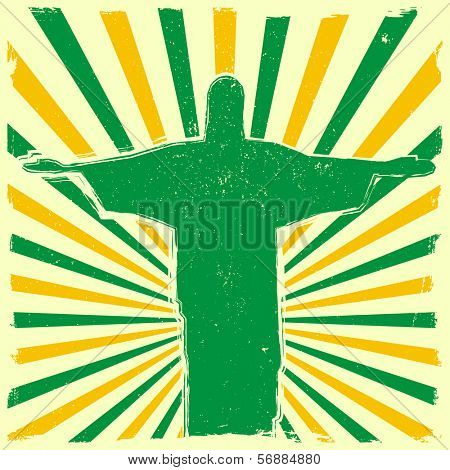 detailed illustration of the Jesus Statue of Rio de Janeiro in front of a grungy burst backbround, eps 10 vector