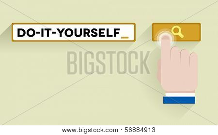 minimalistic illustration of a search bar with do it yourself keyword and hand over the button, eps10 vector