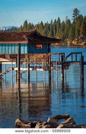 Stilt Hut In A Lake