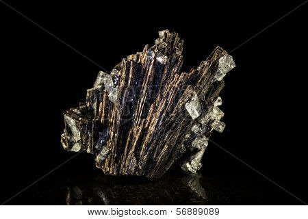 Black Tourmaline And Aquamarine, Black Background