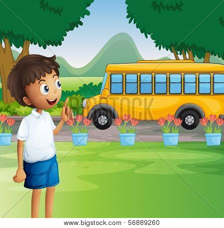 Illustration of a young boy ready for school