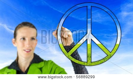 Woman With A Peace Sign