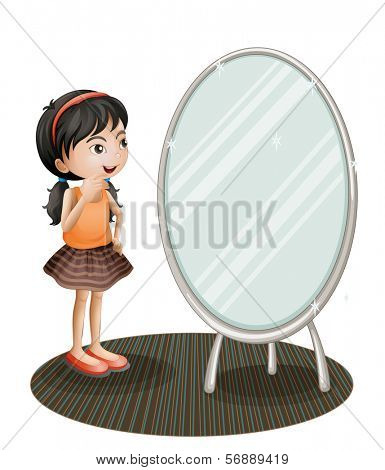 Illustration of a girl facing the mirror on a white background