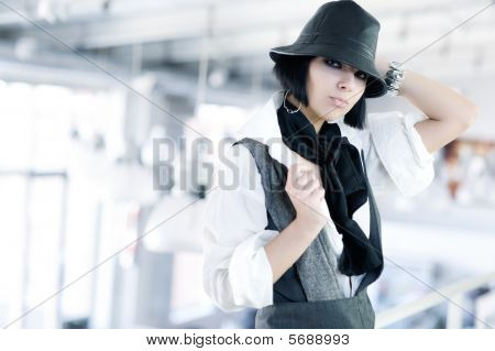 Young Fashion Woman With Hat