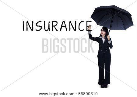 Businesswoman Writing Insurance Concept