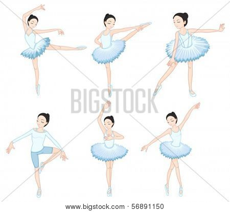 Illustration of the white ballet dancers on a white background