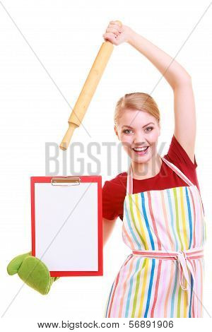 Housewife Or Cook In Kitchen Apron Holds Clipboard With Empty Blank Isolated