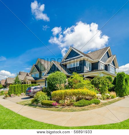 Luxury house with gorgeous outdoor landscape at sunny day in Vancouver, Canada.