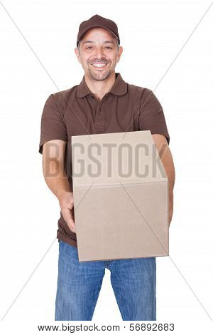 Happy Delivery Man Holding Cardbox