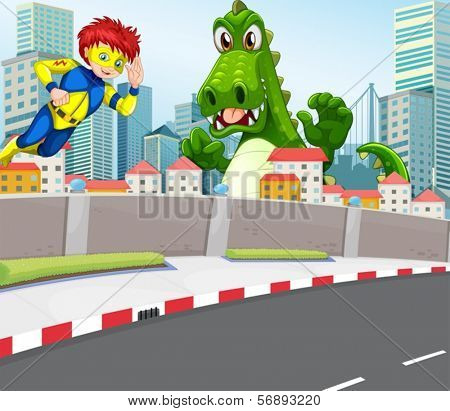 Illustration of a superhero and a crocodile in the city