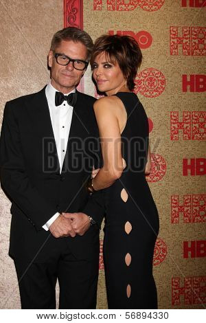 vLOS ANGELES - JAN 12:  Harry Hamlin, Lisa Rinna at the HBO 2014 Golden Globe Party  at Beverly Hilton Hotel on January 12, 2014 in Beverly Hills, CA