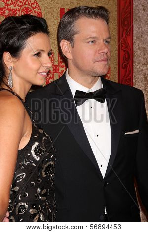 vLOS ANGELES - JAN 12:  Matt Damon at the HBO 2014 Golden Globe Party  at Beverly Hilton Hotel on January 12, 2014 in Beverly Hills, CA