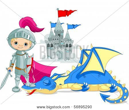 Brave knight and defeated  dragon . Raster version