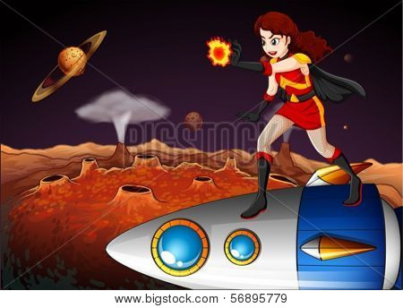 Illustration of a female superhero at the galaxy standing above the spaceship