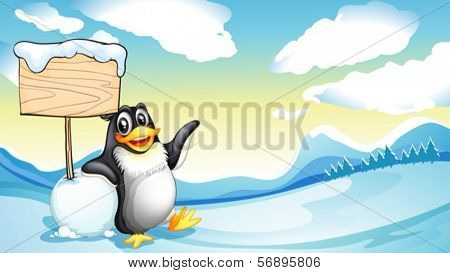 Illustration of a penguin beside the empty wooden board