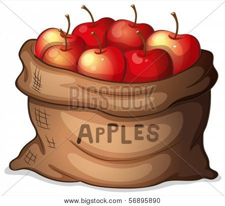 Illustration of a sack of apples on a white background