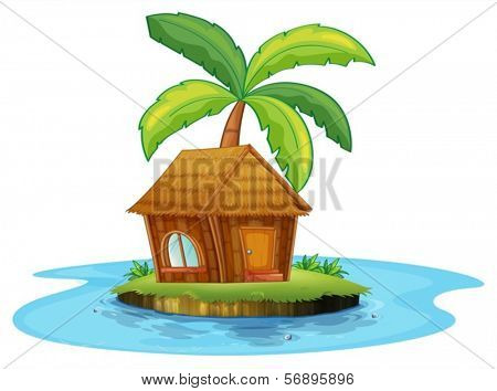 Illustration of an island with a nipa hut and a palm tree on a white background