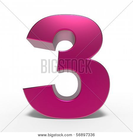 pink number 3 isolated on white background