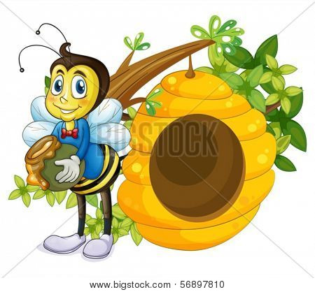 Illustration of a beehive beside the bee on a white background