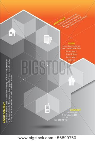 Vector abstract orange background with 3D gray cubes and corporate presentation icons and place for content.