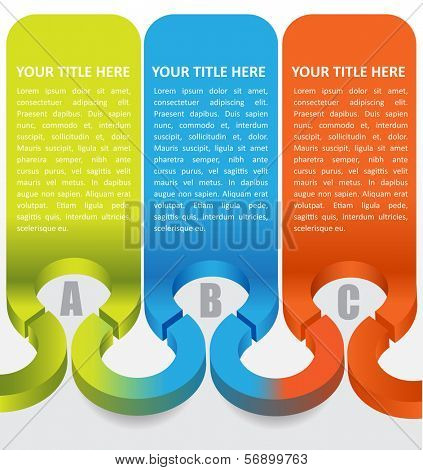 Abstract vector 3d labels background with color ABC steps and place for text content